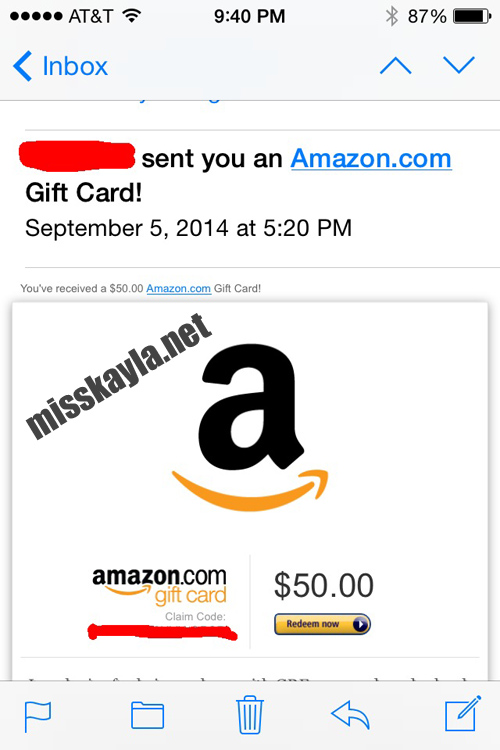 Miss Kayla loves Amazon giftcards as tribute